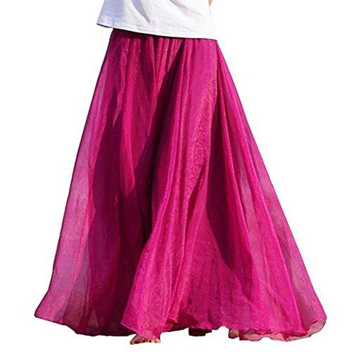 WUSIKY Rock Damen/Teen Mädchen Kleid Elastisch Taille Chiffon Lang Maxi Strandkleid Elegant Casual Tutu Röcke Tanzkleid Unterkleid (One Size,Hot Pink)