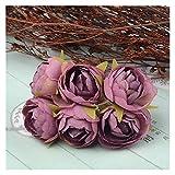 YINGNBH Rosas Artificiales Bouquet de Flor de Rosa de té de Seda Artificial para la decoración de la Boda de la casa de la Navidad Artesanía de Flores Falsas Baratas (Color : Brown)