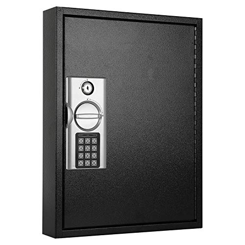 KYODOLED 60 Key Cabinet with Digital Lock,Lock Box with Code Wall Mounted,Metal Steel Key Safe,Large Storage Cabinet Boxes for House Key,12.99'' X 17'' X 2.55'' Black 60 Keys