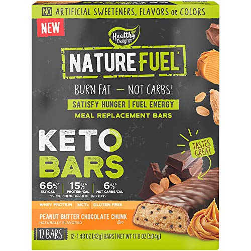 Nature Fuel Keto Bars Meal Replacement Bars with Whey Protein and MCTs, Burn Fat 7 Fuel Energy Peanut Butter Chocolate Chunk (12 Bars)
