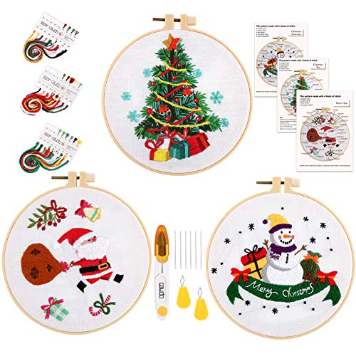 Caydo 3 Sets Christmas Embroidery Starter Kit with Pattern Include 3 Embroidery Clothes with Christmas Themed Pattern, 3 Plastic Embroidery Hoops, Color Threads, Tools and Instructions