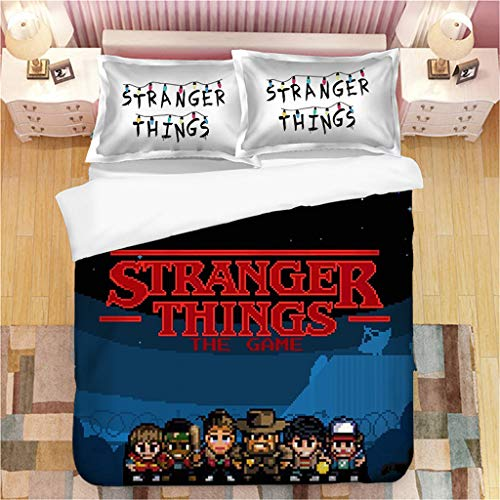 Stranger Things Duvet Cover Set with 2 Pillow Case Season 3 Eleven Stranger Things Bedding Cover Set Single/Double/King Size Kids Toddler Soft Bedding Set for Winter Autumn Summer (173x218cm-3pcs,G)