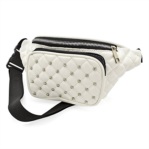 White Padded Studded Bum Bag (Ropa)