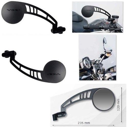 pour GILERA Eaglet 50 Paire DE MIROIRS DE Guidon RETROVISEUR pour Motocyclette Noir Far Viper 7332+7333+KIT DE Montage M.8 10X1,25 Universel