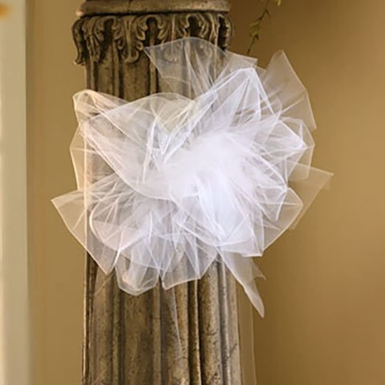 8 yrd Spool 3 Pack White Tulle Ribbon Banquet Chair Decorating Anniversary Dressing up The Church, Reception Hall, Outdoor Wedding Venue