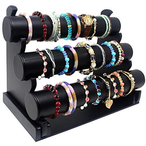Soporte de pulsera con tres niveles de cuero sintético texturizado para pulsera ~ Organizador de joyas ~ Pantalla de brazalete ~ Organizador de joyas para reloj de pulsera, brazaletes y pulsera