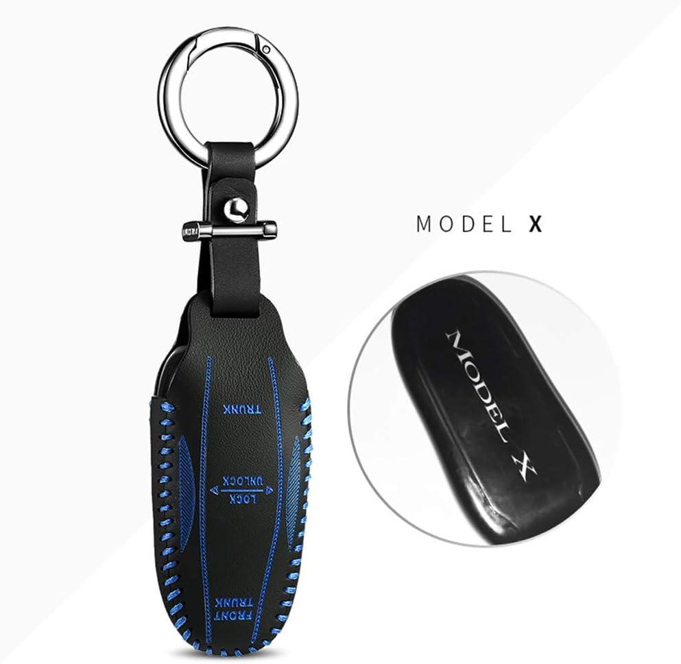 Luckeasy Key2 Tesla1 2 3 Autoschlüssel Hülle Für Tesla Modell 3 2017 2018 2019 Für Tesla Model X Modell S 2017 2018 2019 Fernbedienung Schlüssel Hülle Leder Key Fob Cover Key Bag Blau 2 Tesla X Auto