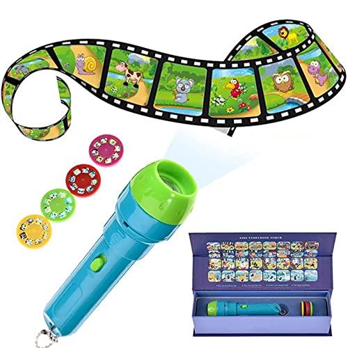 Aorsher Mini Proiettore Torcia Giocattoli Educativi Luminosi per Bambini Bambini, Storie Addormentate Set con 4 Film di Fiabe E 32 Diapositive, Regalo per Bambini