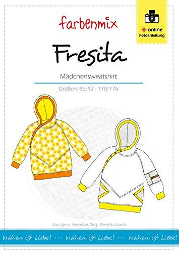 Fresita Farbenmix Schnittmuster (Papierschnittmuster in den Größen 86/92 - 170/176) Mädchenhoodie