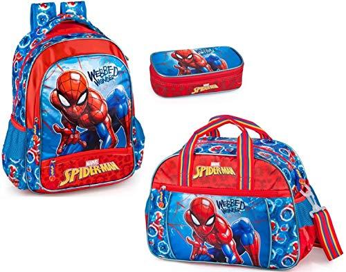 Marvel Spiderman Rucksack, Sporttasche und Federmäppchen Jungen Schulrucksack Trainingstasche Mäppchen Spider-Man