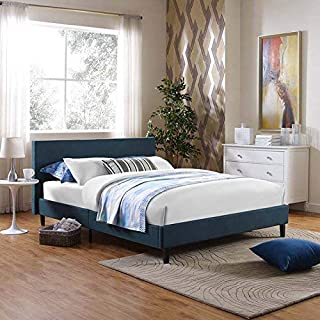 Modway Anya Upholstered Azure Platform Bed with Wood Slat Support in Full (Renewed)