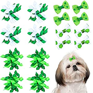 Weewooday 16 Pieces St. Patrick's Day Dog Hair Bows Pet Curve Bows Various Styles Puppy Cat Green Clover Hair Bows with Elastic Rubber Bands DIY Grooming Accessories