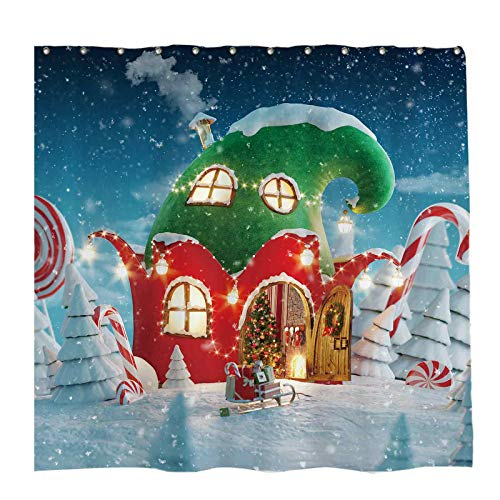 Allenjoy 72x72 inch Christmas Candy Canes House Shower Curtain Set with 12 Hooks Winter Night Snowflake Pine Trees Cane Sugar Bathroom Curtain Durable Waterproof Fabric Bathtub Sets Home Decor