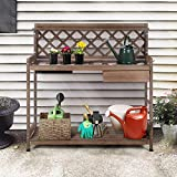 GUTINNEEN Potting Bench with PVC Layer, Sink, Lid, Gardening Work Bench Wooden Planting Table Outdoor with Storage, Drawer, Shelf, Hook