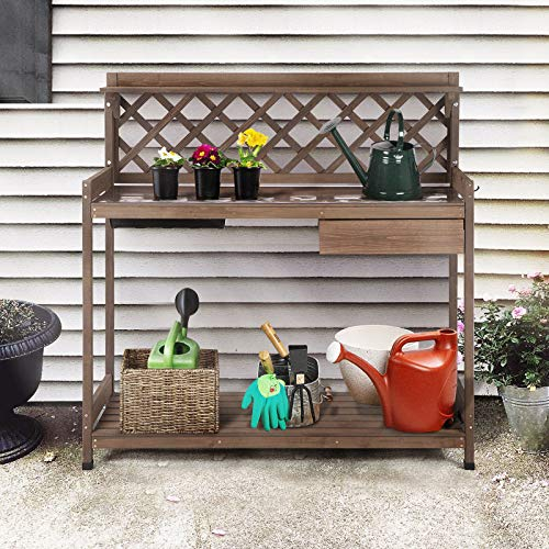GUTINNEED Potting Bench with PVC Layer, Sink, Lid, Gardening Work Bench Wooden Planting Table Outdoor with Storage, Drawer, Shelf, Hook