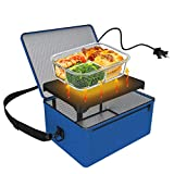 Portable Oven, 110V Portable Food Warmer Personal Portable Oven Mini Electric Heated Lunch Box for Reheating & Raw Food Cooking in Office, Travel, Potlucks and Home Kitchen (Blue)
