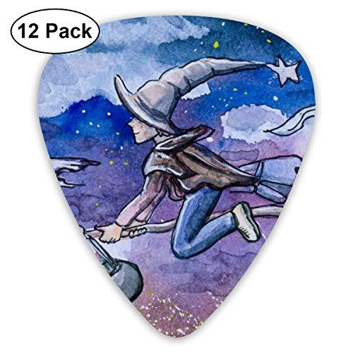 Rterss kind heks vliegen op bezem 's nachts sampler gitaar kiezen klassieke picks 12-pack voor elektrische gitaar akoestische gitaar mandoline en bas aangepast