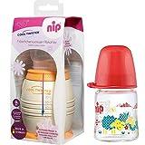 NIP Flaschenkühler Cool Twister inkl. inkl. 1 x NIP Weithalsflasche aus GLAS 120 ml mit Sauger M (Milch)