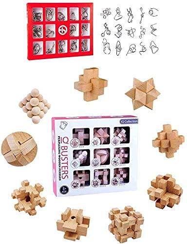 EAYOK Adventskalender 24 St. Knobelspiele Set, 15 Metall Knobelspiele + 9 Holz Knobelspiele, 3D Adventskalender Rätsel Spielzeug für Kinder und Erwachsene