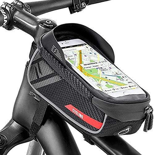 PULNDA Bike Phone Front Frame Bag Waterproof Sun Visor Top Tube Bicycle Frame Bag with TPU Touchscreen product image