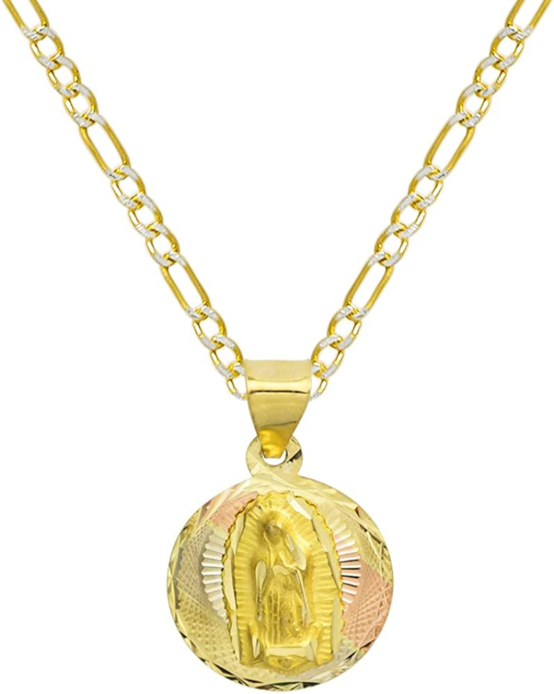 Pyramid Jewelry 14K Tri Color Gold Virgin Mary Guadalupe Charm Pendant Necklace - 2.0 mm White Pave Figaro Chain