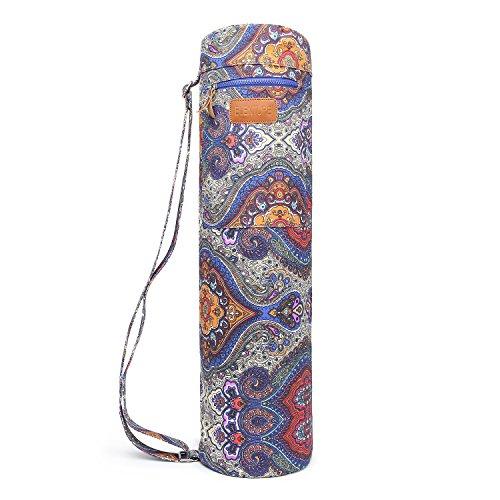 Funda con cremallera Elenture para esterilla de yoga, con bolsillos de almacenamiento multifuncionales, azul claro