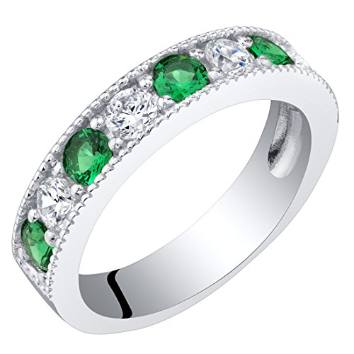 Sterling Silver Simulated Emerald Milgrain Half Eternity Ring Band Size 5