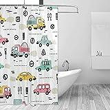 Cartoon Cars Fahrzeug Duschvorhang Set für Home Polyester wasserdichtes Gewebe Badezimmer mit Haken 36x72 inch