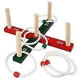 Ringwurfspiel Outdoor - mit 6 Wurfringen, 36x36x14,7cm, Tannenholz - Spiele für Draußen, Ring für Kinder, Werfen den Ring, Wurfspiel