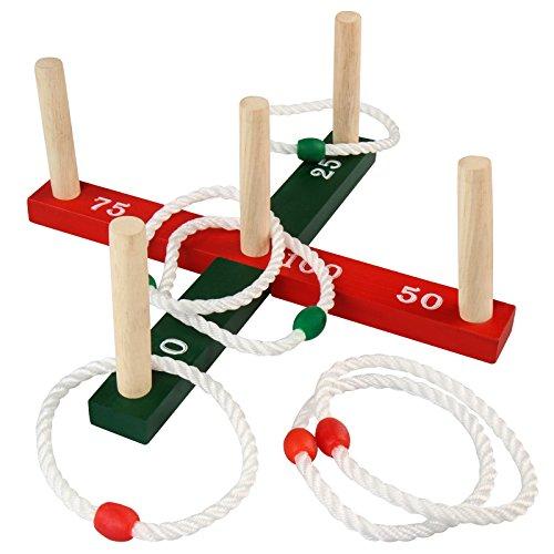 Infantastic Ringwurfspiel in zwei verschiedenen Farben mit leichten Nylon-Ringen als stabiler Gartenspiel-Klassiker zur Förderung der Koordination und Augenmaß