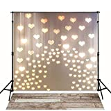 MEHOFOTO 6x8ft Love Heart Pattern Photography Backdrops Wood Floor Happy Anniversary...