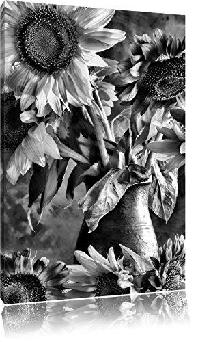 Pixxprint Sonnenblumen in Vase als Leinwandbild | Größe: 80x60 | Wandbild| Kunstdruck | fertig bespannt