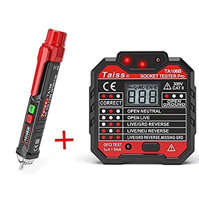 Voltage Tester Pen Non-Contact with LED Flashlight + GFCI Outlet Tester Power Socket Automatic Electric Circuit Polarity Voltage Detector Wall Plug Breaker Finder TA100+TA106B