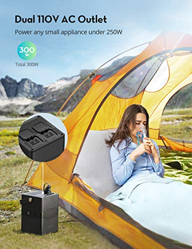 Portable Power Station RAVPower 252.7Wh/70200mAh Solar Generator,Dual 110V/300W Pure Sine Wave AC Outlet,60W PD and 120W DC Port Backup Lithium Battery for Outdoors Camping Travel Hunting Emergency