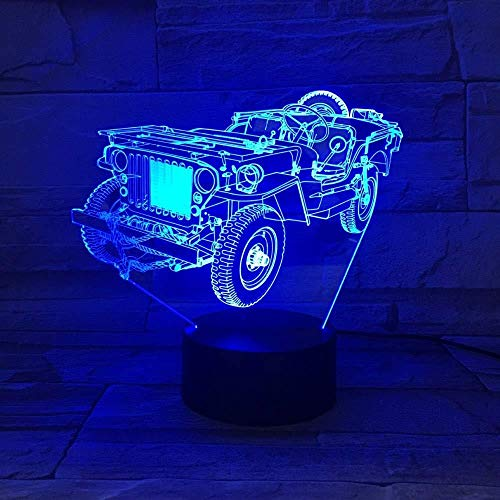 TIANXIAWUDI White Crack 7 Color Touch Retro Vintage Car Vintage Night Light/Led Optical Illusion Led/Ambient 3D Car Table Light/Anniversary For Children-White Crack 7 Color Touch