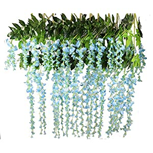 Lannu 12 Pack 3.6 FT Artificial Fake Hanging Wisteria Vine Ratta Silk Flowers String for Home Wedding Party Decor