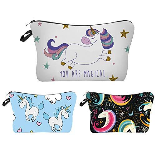 Waterproof Makeup Bag 3pcs/Set Super Cute Printing Cosmetic Bag Unicorn Gifts for Girls Travel