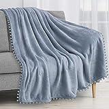 PAVILIA Pom Pom Blanket Throw, Slate Dusty Light Blue | Soft Fleece Pompom Fringe Blanket for Couch Bed Sofa | Decorative Cozy Plush Warm Flannel Velvet Tassel Throw Blanket, 50x60