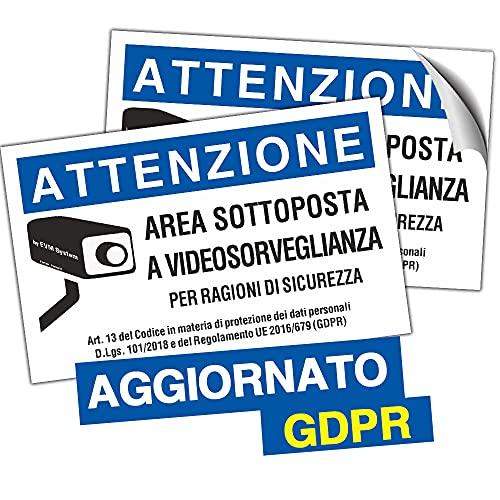 EVM 2pz. Cartello Videosorveglianza Area Videosorvegliata - AGGIORNATO ULTIMA NORMATIVA GDPR, Blu (A6 (105x148mm))
