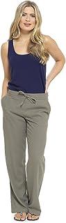Pantalones De Lino Mujer Verano| Ropa Lino Mujer | Pantalon Lino Mujer Verano| Pantalones De Lino para Mujer con Cintura Elástica