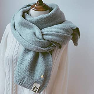 Winter Female Imitation Cashmere Thick Warm Double-Sided Scarf, Double-Sided Solid Color Small Loli Scarf 7 Colors,Blue