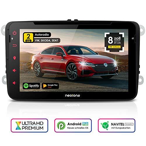 NEOTONE WRX-980A Autoradio für VW | Skoda | Seat | Android 9 | Navigation mit Europakarten | 8 Zoll | DVD | DAB+ Unterstützung | USB | WLAN | Bluetooth | MirrorLink | RDS