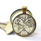 Llavero con mapa del mundo antiguo, llavero de mapa del mundo, joyería de mapa antiguo, llavero de resina de mapa
