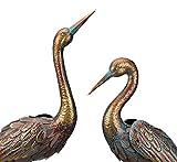 Wonders Shop Outdoor/Indoor Accent Metal Patina Cranes 35' - 41' Figurine Statues Bird Copper/Bronze 2pcs