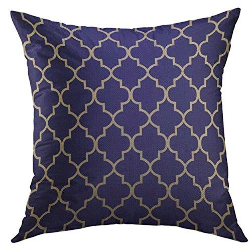Mugod Pillow Cover Tan Geometric Navy Blue Khaki Quatrefoil Trellis Home Decorative Square Throw Pillow Cushion Cover 16x16 Inch Pillowcase