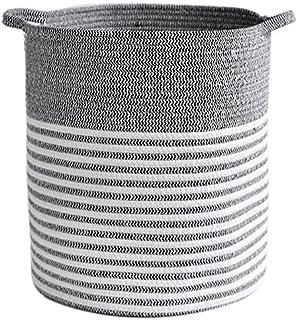 Gamssdllsxyl Oanier Rangement, Filetage de Coton Panier de buanderie ménage Rond Double poignées Pliables Taille 40cm * 35cm