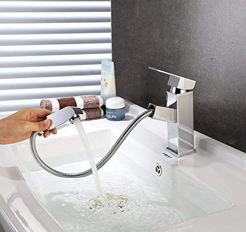 Homfa ausziehbare Waschtischarmatur. Küchenarmatur mit Einhandmischer, ausziehbarer Schlauchbrause und Keramik-Kartusche aus verchromtem Messing - 2