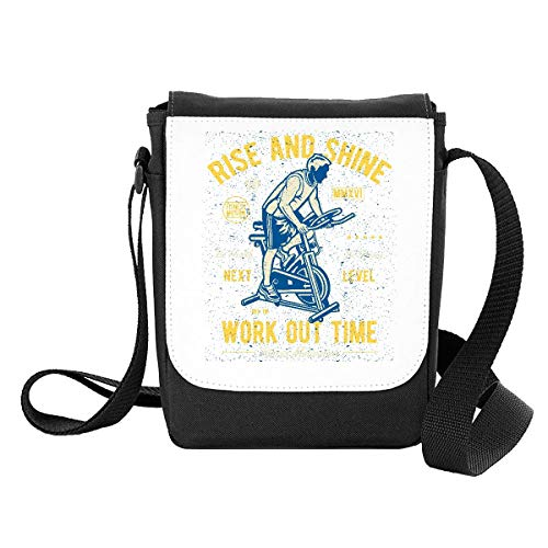 Rise and Shine Work Out time Vintage Poster Design [200B] Shoulder Bag - Small