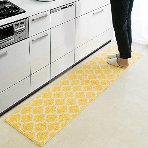 キッチンマット 北欧 モロッカン 洗える おしゃれ 滑り止め もこもこ かわいい (45×180cm, イエロー)