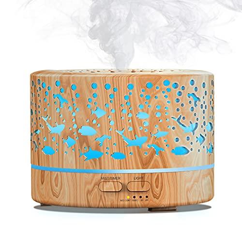 MEIDI Aroma Diffuser 500ml, Ultraschall Duftlampe Elektrisch, BPA-Free Holz Design mit 7 LED Farben Luftbefeuchter für Ätherische Öl, Baby,Kinderzimmer Yoga,Spa,Schlafzimmer